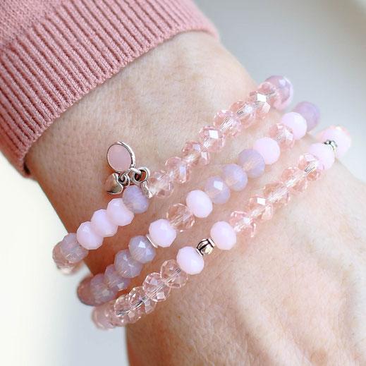 handgemachte Glas Armbänder in rosa und silber, perfekt für den Frühling, aus der Frühjahrskollektion, Kombination, modern, trendig, aus Köln, EVAMARIA jewelry