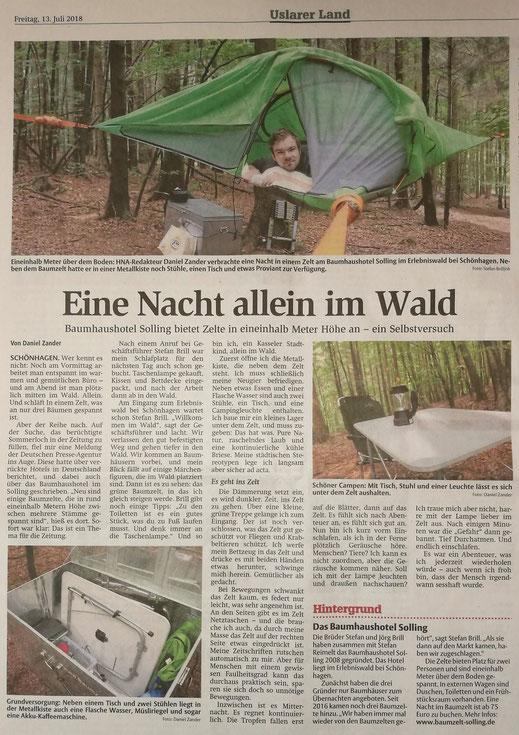 Sollinger Allgemeine / HNA vom 13.07.2018