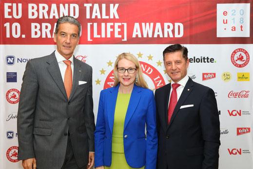 Harald Neumann, BM Margarete Schramböck, Gerhard Hrebicek, EU Brand Talk, European Brand Institute