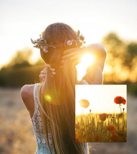 Jeune femme admirant un coucher de soleil
