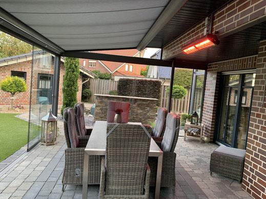 Infrarot Terrassenstrahler für die Sitzgruppe im Wintergarten