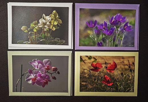 Grußkarten Set - 4 Blumenmotive