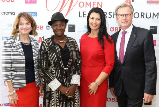 WLF 2018, Frau macht Innovation, Women Leadership Forum,Robin Dunnigan, H.R.H. Princess Abze Djigma, Renate Altenhofer, Wolfgang Ebner ©Katharina Schiffl