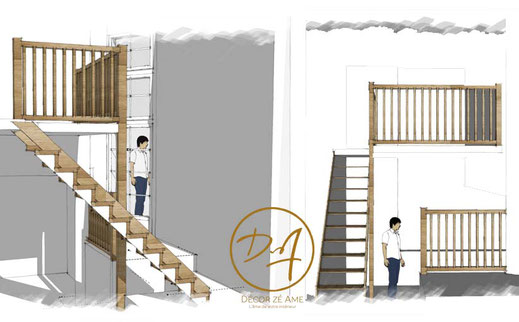 Plan 3D et 2D - Rénovation - Décor Zé Âme