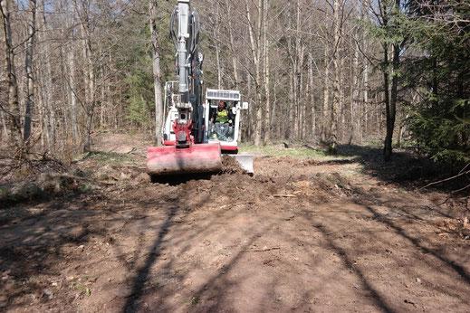 Ein großer Bagger wurde verwendet für das Einebnen von großen Tümpelfeldern mit ca. 10 permanenten mehrjährigen Tümpeln pro Fläche auf alten Rückegassen.
