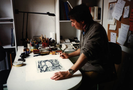 Naso González en su estudio