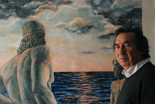 Naso González ante su cuadro Renacimiento