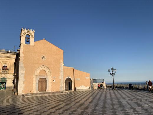 Italien, Sizilien, Sehenswürdigkeit, Taormina, Belvedere, Aussicht, Aussichtsplattform, Kirche