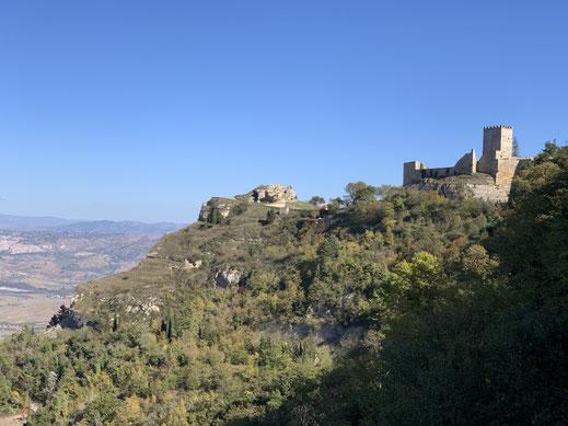 Italien, Sizilien, Sehenswürdigkeit, Enna, Berg, Dorf, Burg, Aussicht