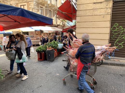 Italien, Sizilien, Fleischtransport, Markt, Catania, Sehenswürdigkeit, Schaf