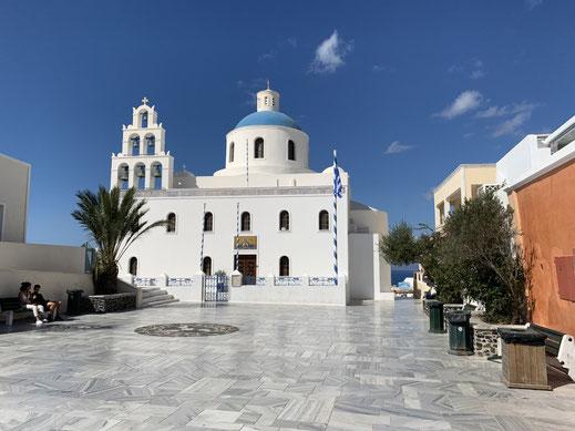 Santorini, Griechenland, Steilküste, Fira, Oia , Caldera, Kirche, Panagia Platsani