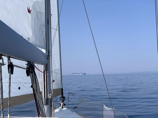 Kroatien, Cres, segeln, Frachtschiff