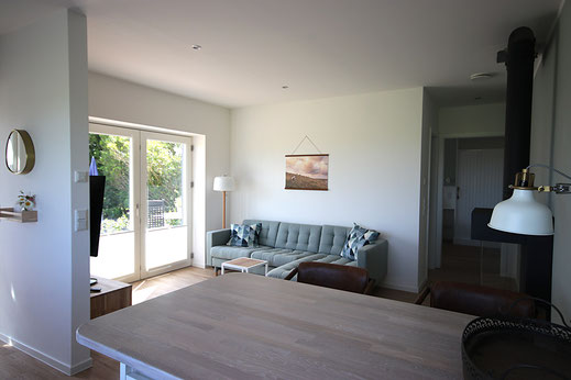 Wohnbereich in der neuen Ferienwohnung Grüne Weide