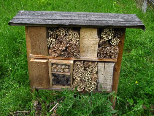 Durch die Gwaagge befülltes Wildbienen-Hotel  auf dem vom Turdus gepflegten Grundstück in Merishausen (Foto: Gwaagge)