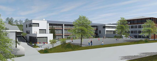 So soll die Sommertalschule künftig aussehen, links im Bild der Anbau inklusive Mensa, die derzeit entsteht und im kommenden Sommer fertig sein soll. | Bild: Planungsbüro mmp