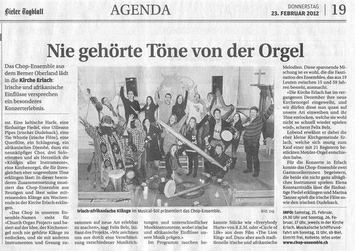 Bieler Tagblatt 23. Februar 2012