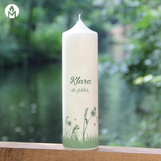moderne und individuelle Trauerkerze du-fehlst machs-licht-an Kerzenshop Stumpenkerze Trauerfeier Kirche #mla