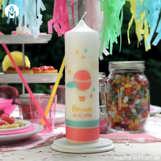 Hanna Ballon Wolken Stern bunt moderne und individuelle Geburtstagskerze Geburtstag Geburt Kerze machs-licht-an individuell Stumpenkerze selbstgemacht Geschenk Dekoration deko Birthday Kerzenshop
