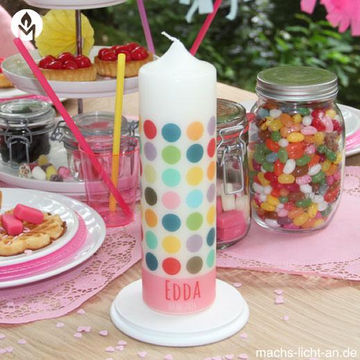 moderne und individuelle Geburtstagskerze Geburtstag Geburt Kerze machs-licht-an individuell Stumpenkerze selbstgemacht Geschenk Dekoration deko Birthday Kerzenshop Edda punkte fröhlich bunt