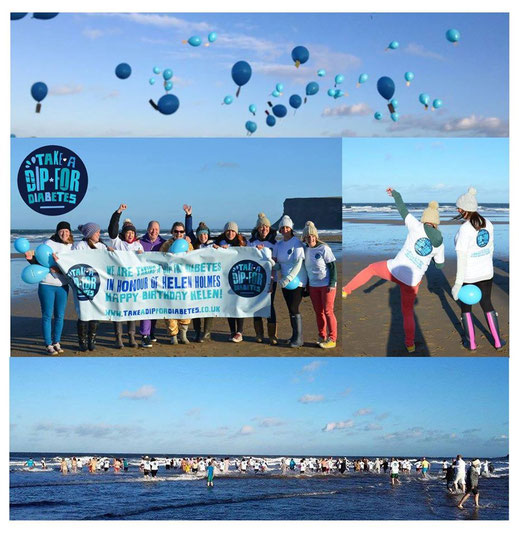 Dip For Diabetes in Honour of Helen Holmes at Saltburn Beach