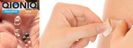 Die QIONIQ-Steine mit handelsüblichen, hautfreundlichen Pflastern befestigen. Empfohlen werden kinesiologische Tapes oder zB. Leukotape.
