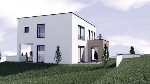 Modernes Einfamilienhaus in starker Hanglage, erste Visualisierung. -Architekturbüro Götzer