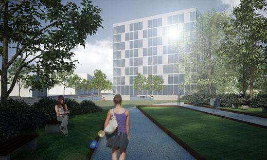 Visualisierung Städtebauliche Förderung Bahnhof Hof Cinema 4D Vray