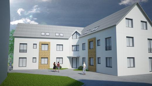 Visualisierung Mehrfamilienhaus Entwurf Wettbewerb Wackersdorf Cinema 4D Vray