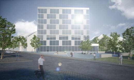Visualisierung Städtebauliche Förderung Hof Cinema 4D Vray