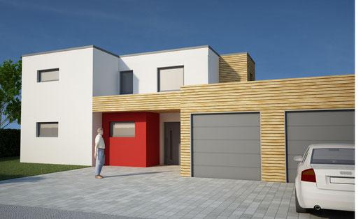Visualisierung EFH Bauhaus Stil Cinema 4D Vray