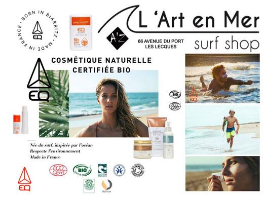 L'Art en Mer Concept Store & surf Shop Les Lecques EQ Love cosmétique naturelle certifiée Bio