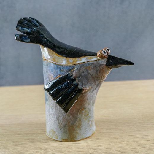 Keramikvogel Tütenvogel in schwarz und silbergrau