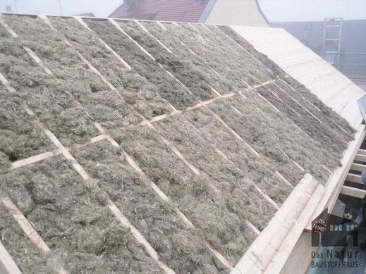 Stopfhanf, Dachdämmung von Innen, Hanfdämmung