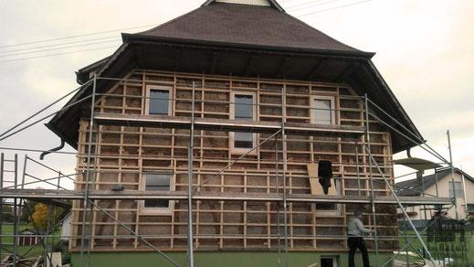 Fassadendämmung, Hanfdämmung, Hanffaser, Unterkonstruktion