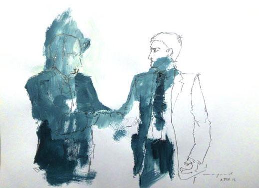 Gewinner der Landratswahl, Bleistift/Acryl/Papier, A3