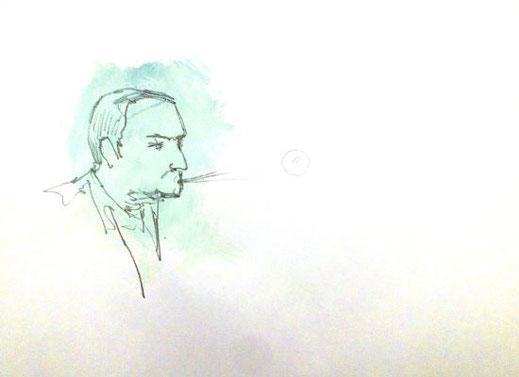 Der Sieger, Landrat, Bleistift/Acryl/Papier, A3