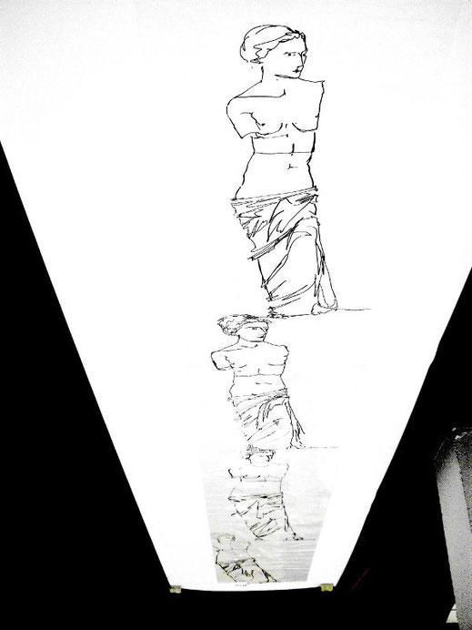 Venus von Milo, Serienzeichnung auf Plastikfolie