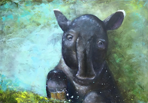 Tapirus indicus | Acryl | 70 x 100 cm