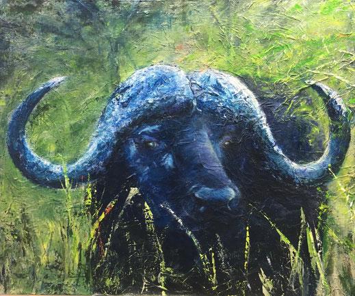 Buffalo Blue (Big Five No. 1) | Acryl-Mischtechnik | 100 x 120 cm