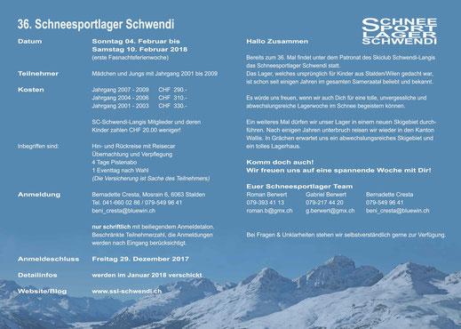 Einladung 36. Schneesportlager Schwendi (Innenseite)