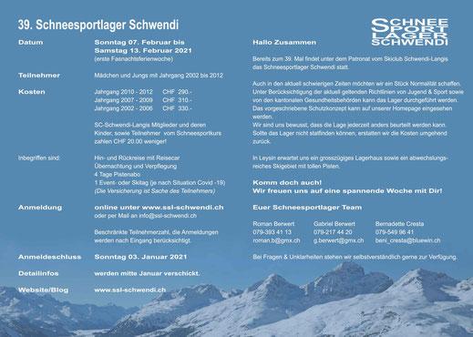 Einladung 39. Schneesportlager Schwendi (Innenseite)
