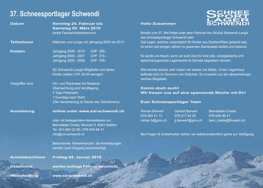 Einladung 37. Schneesportlager Schwendi (Innenseite)