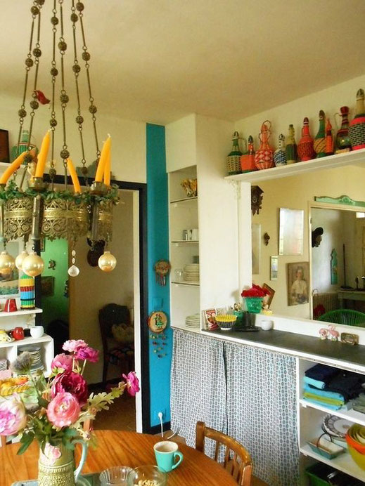 déco,cuisine,maison,kitsch,retro,babakitsch,bouteilles,scoubidou