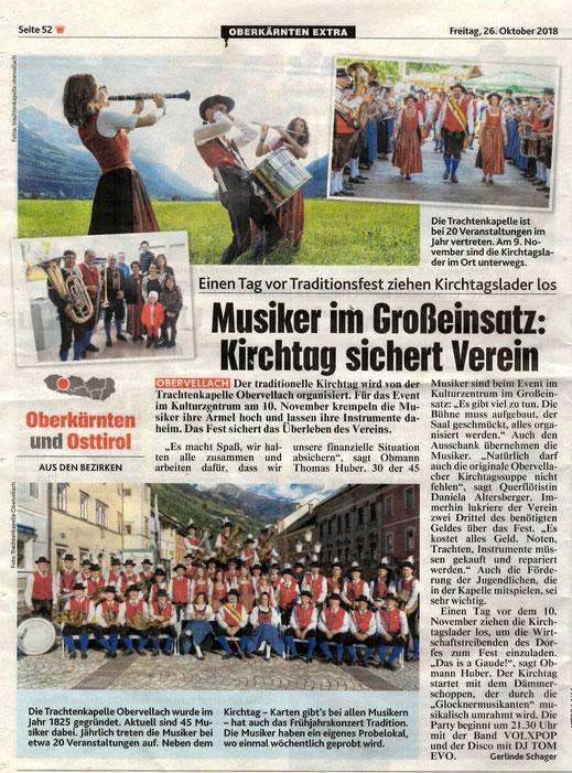 Ausgabe: Kronen Zeitung Freitag, 26. Oktober 2018 | Gerlinge Schager