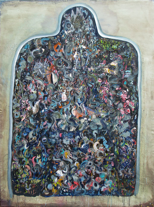 perception, 2018, oil and acryl on canvas, 220 x 162 cm
