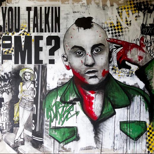 Taxi driver peinture acrylique sur toile artwork robertdeniro street art