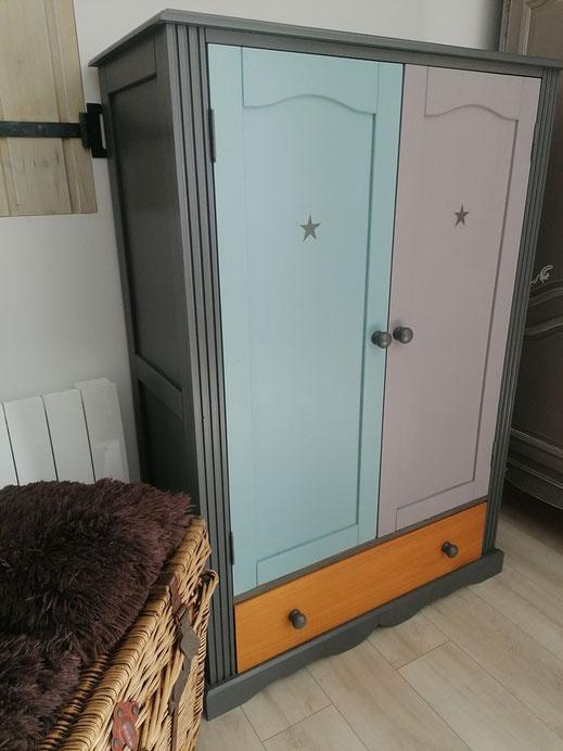 relooking de meuble le mans sarthe armoire pin enfant gris bleu etoile