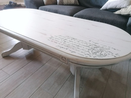relooking de meuble le mans sarthe table basse le perche blanc patine