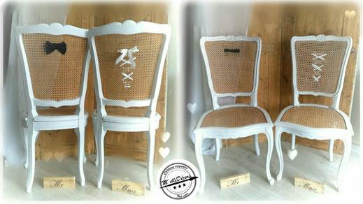 relooking de meuble chaises de maries blanc nœud papillon chaise cannée le mans sarthe