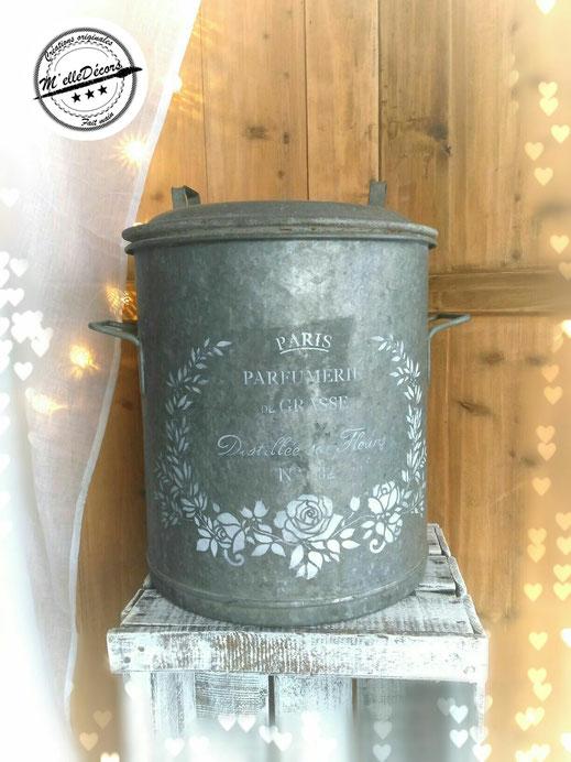 ancien stérilisateur en zinc, contenant pour les fleur location decoration mariage vintage champetre le mans sarthe m'elledecors